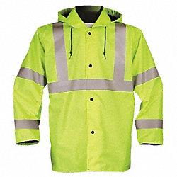 Jacket with Hood, Hi-Vis Ylw/Grn, XL