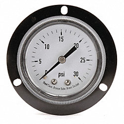 Panel Gauge, Front Flange, 3 1/2 In, 100Psi