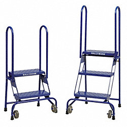 Folding Rolling Ladder, Steel, 40 In.H