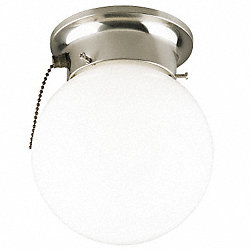 Fixture, Light, Brushed Ni, 60W, Wh Glass