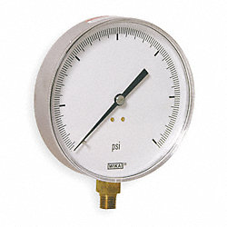 Pressure Gauge, 4 1/2 In, 0 to 60 Psi