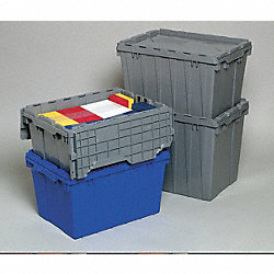 Container, Attached Lid, 8.5 gal., Gray