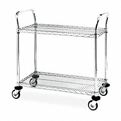 Wire Cart, 18 In. W, 36 In. L, Chrome