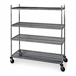 Wire Cart, 24 In. W, 48 In. L, Chrome