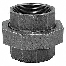 Union, 1/2 In, NPT, Black Malleable Iron