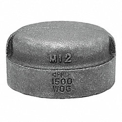 Cap, 1/2 In, NPT, Black Malleable Iron