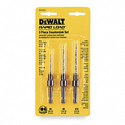 Countersink Hex Drill Bit Set, 3 Pc, #6-10