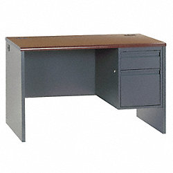 Desk, Single Pedestal, Mahogany, Charcoal
