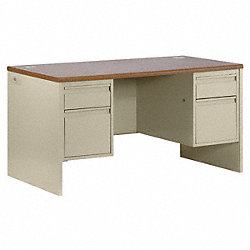 Desk, Double Pedestal, Medium Oak, Putty