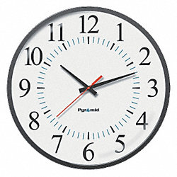 Analog Sync Clock, 12 Hour Face, 17 In Dia