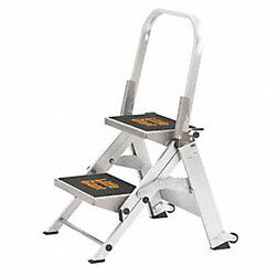 Stepladder, Alum, 1-1/2 ft. H, 300 lb. Cap.
