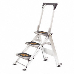 Stepladder, Alum, 2-1/4 ft. H, 300 lb. Cap.