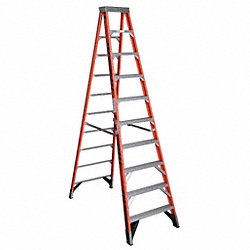 Stepladder, Fiberglass, 10 ft H, 375 lb Cap