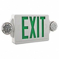 Exit Sign w/Emergency Lights, 3W, Grn