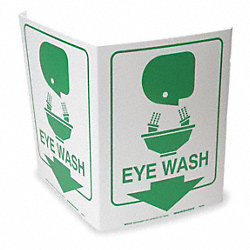 Eye Wash Sign, 12 x 18In, GRN/WHT, Eye Wash