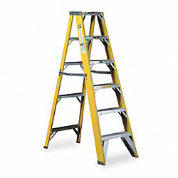 Stepladder, Fiberglass, 4 ft. H, 500 lb Cap