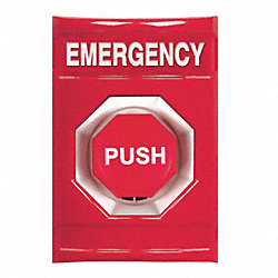 Emergency Push Button, Turn-To-Reset, Red