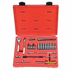 Socket Set, Std/Deep, SAE, 1/4Dr, 37Pc