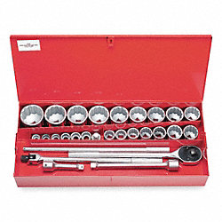 Socket Set, Std, 1 In Dr, 12 Pt, 29 Pc