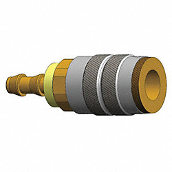Coupler , Brass, 1/4 In Push Lock, 1/4 Body