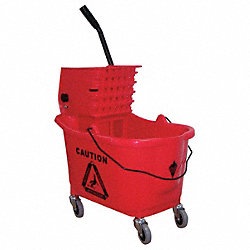 Mop Bucket and Wringer, Red, Side Press