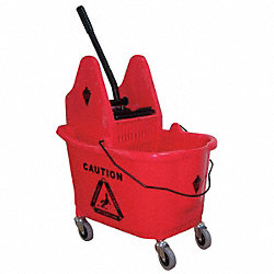 Mop Bucket and Wringer, Red, Down Press