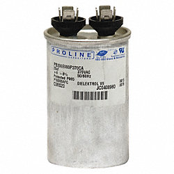 Run Capacitor, 60 MFD, 370 VAC, Round