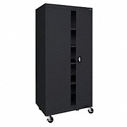 Mobile Storage Cabinet, Welded, Black