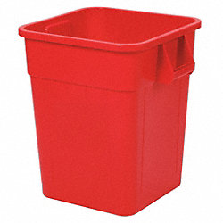 Square Container, 28 Gal, 21.5 In, Red