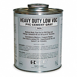 Cement, 8 Oz, Gray, PVC, Heavy Duty Low VOC