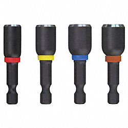 Mag Nut Driver Set, 1/4 Hex, 1 7/8 L, 4 Pc