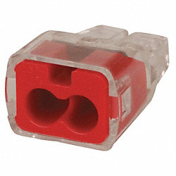 Push In Connector, 2 Port, Red, PK 5000