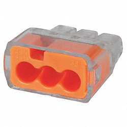 Push-In Connector, 3-Port, Orange, PK 250