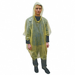 Disposable Poncho, Polyethylene, Yellow