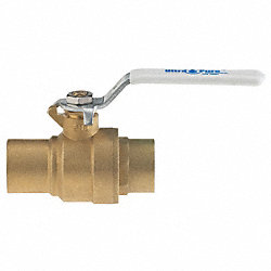 Ball Valve, 2 In, Solder, Brass, Lead-Free