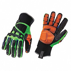Anti-Vibration Gloves, XL, Lme/Blk/Orng, PR