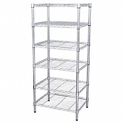 Wire Shelving, 63x60x18, 6 Shelf, Chrome