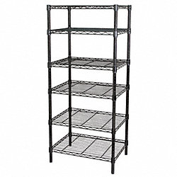Wire Shelving, 63x60x18, 6 Shelf, Black