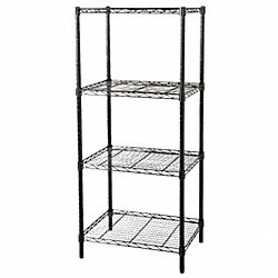 Wire Shelving, 63x36x18, 4 Shelf, Black
