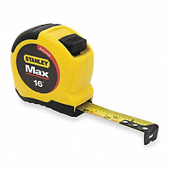 Measuring Tape, 16 Ft, Yellow/Black
