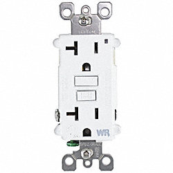 Receptacle, Weather Res GFCI, 5-20R, WH