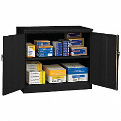 Counter Height Storage Cabinet, Black