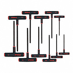 Ball End Hex Key Set, 5/64-1/4In, T-Handle