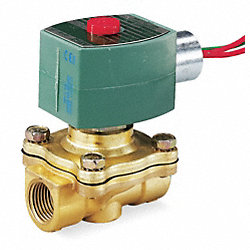 Solenoid Valve, 2 Way, NC, Brass, 1 1/4 In