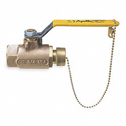 Ball Valve, 2 Pc, 1/2 x 3/4 In, Bronze