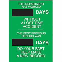 Safety Record Signs, 28 x 20In, STL, ENG