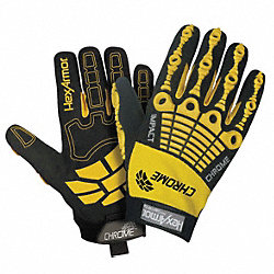 Cut Resistant Gloves, Yellow/Black, L, PR