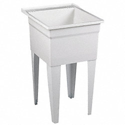Laundry Tub With Legs, Floor Mt, White