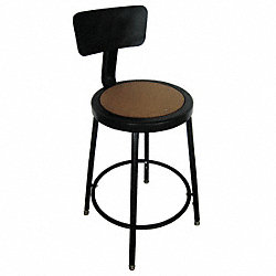 Round Stool w/ Backrest, Black, 24 to 33