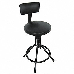 Round Stool w/ Backrest, Black, 24 to 28